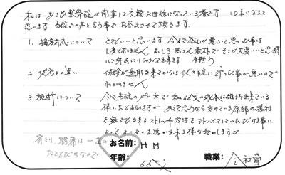 H.Mさん 広島市西区 66歳 女性 会社員